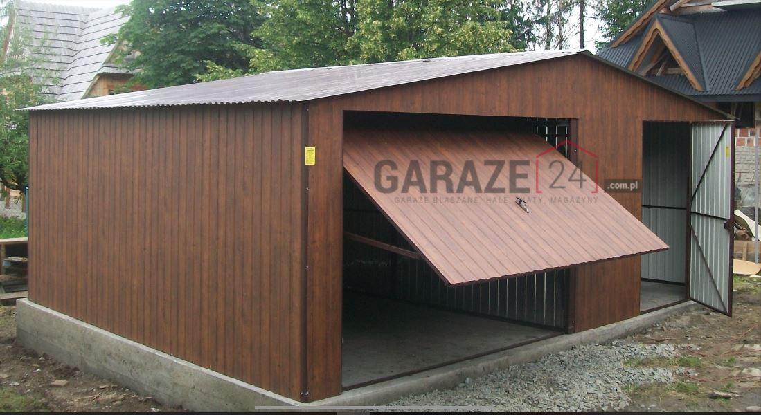 Garaż blaszany 6×5 metrów – dwuspadowy – ciemny orzech