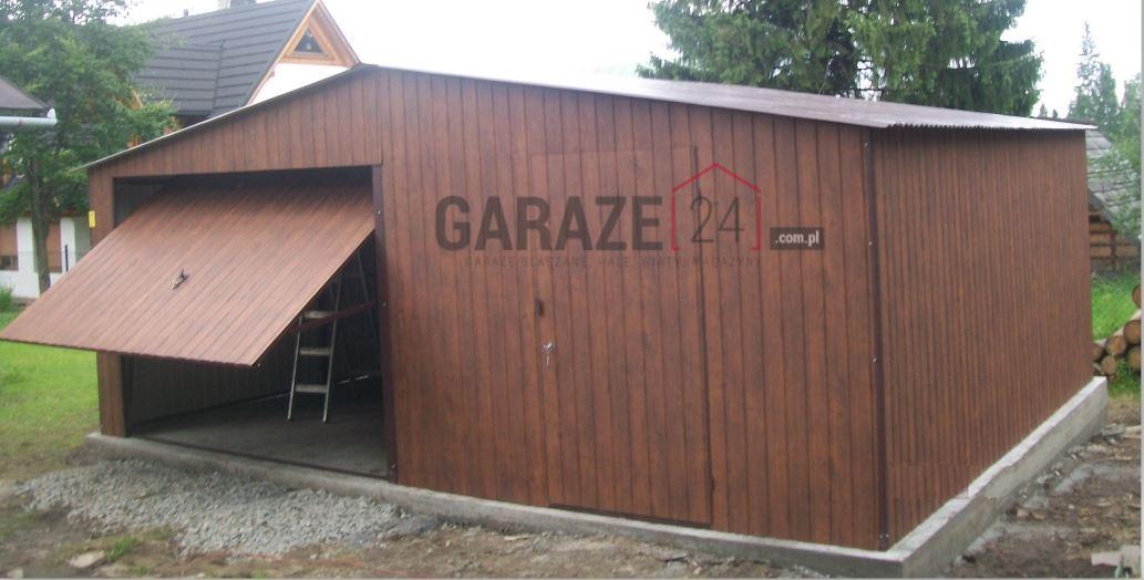 Garaż blaszany 6×5,5 metrów – dwuspadowy – blacha ciemny orzech