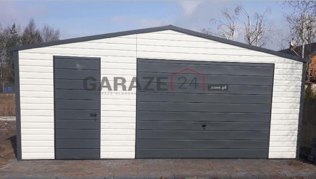 Garaż blaszany 6×6 metrów – akrylowy, biały
