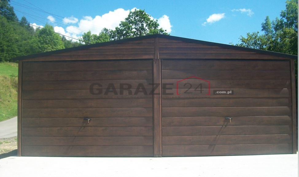 Garaż blaszany 6×6 metrów – dwuspadowy – ciemny orzech