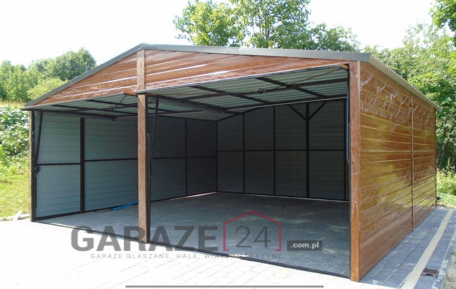 Garaż blaszany 6×6 metrów – dwuspadowy – złoty dąb