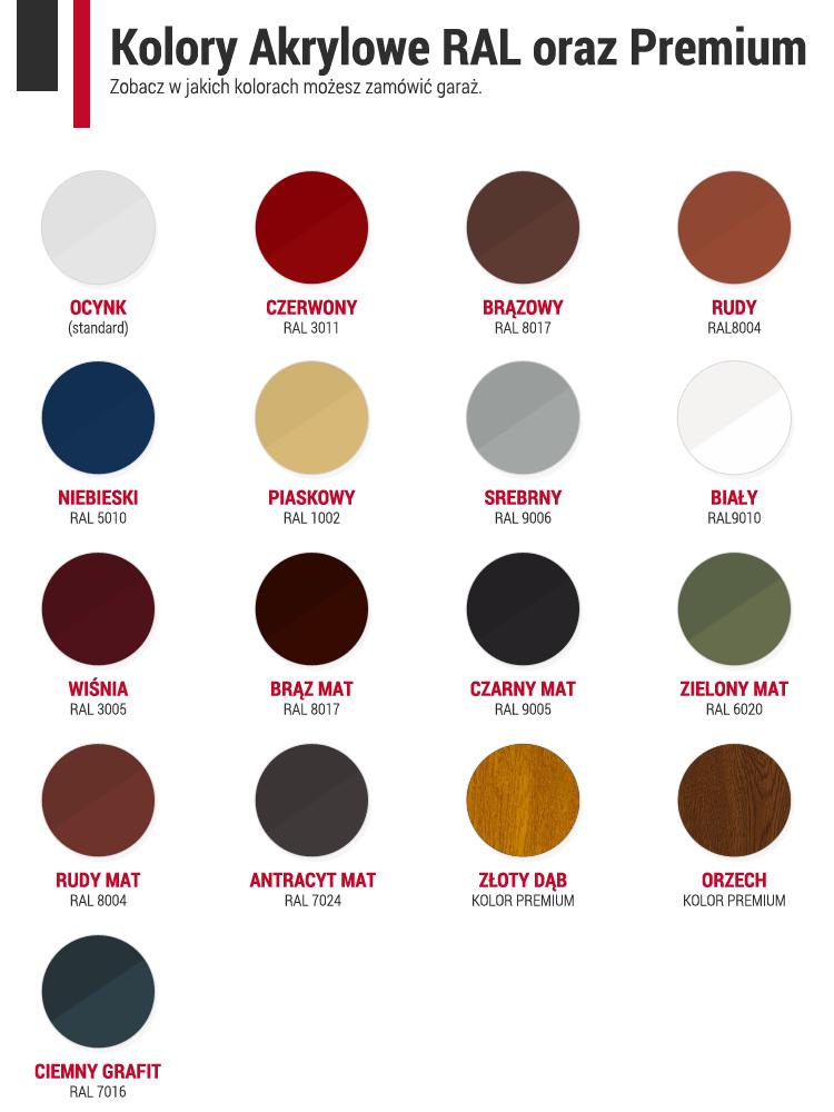 Dostępne kolory blach garaży blaszanych