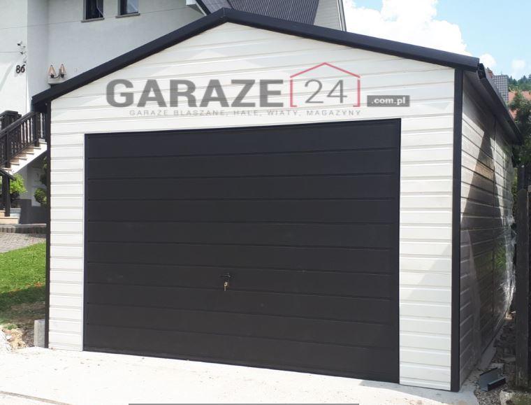 Garaż blaszany 4×6 dwuspadowy, biało grafitowy + automat do bramy uchylnej