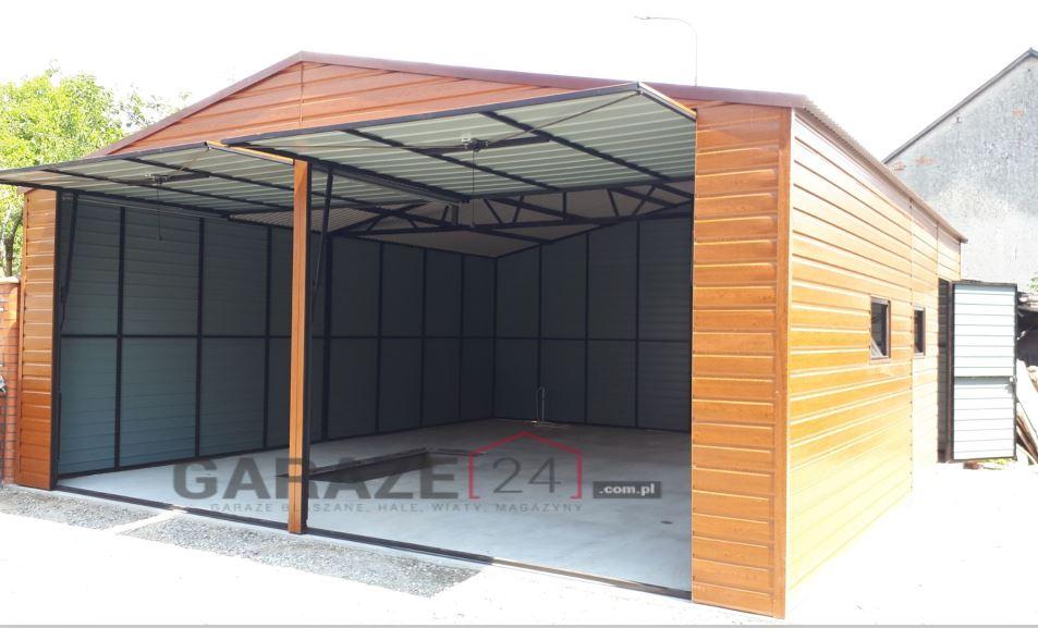Garaż blaszany 6×6 dwuspadowy, drewnopodobny + 2 bramy uchylne
