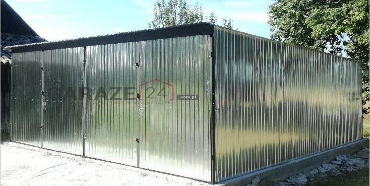 Garaż blaszany 6×5, spad do tyłu, ocynkowany, dwustanowiskowy