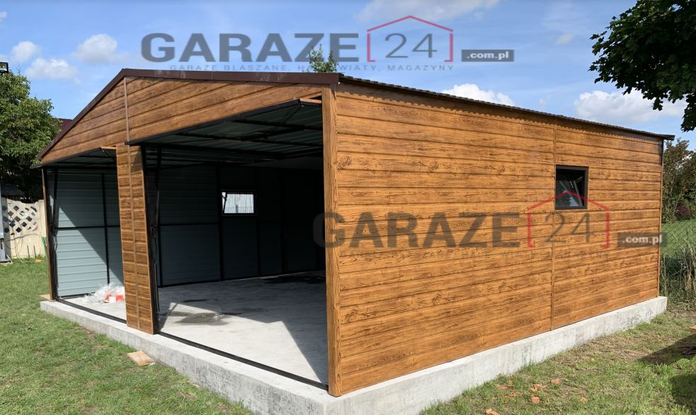 Garaż blaszany 6,5×6 dwuspadowy, kolor premium