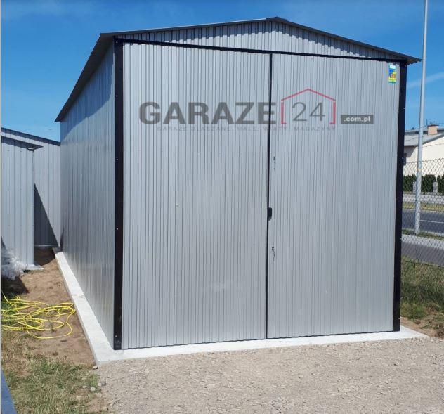 Garaż blaszany 4×7, dwuspadowy, srebrny