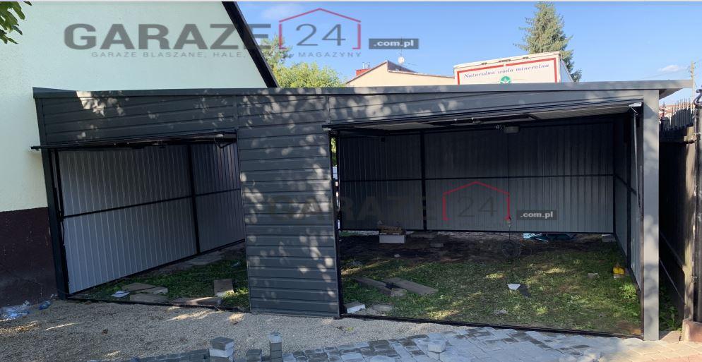 Garaż blaszany 7×6 spad na prawo ciemny grafit