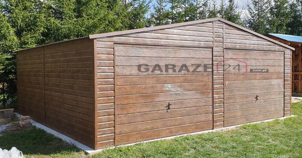 Garaż blaszany 7×6 dwie bramy uchylne + blacha drewnopodobna
