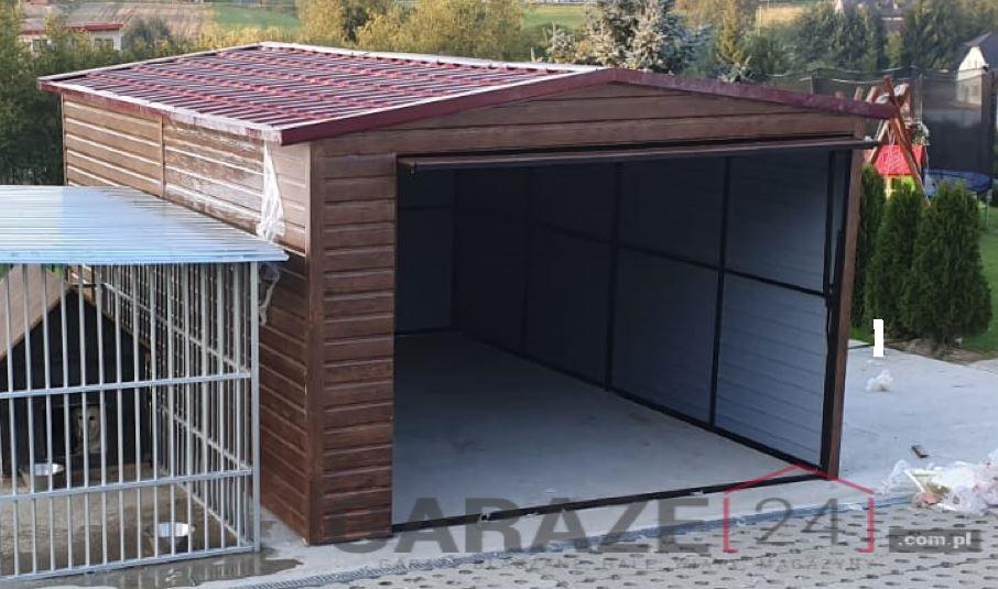 Garaż blaszany 3,5×5 dwuspadowy ciemny orzech