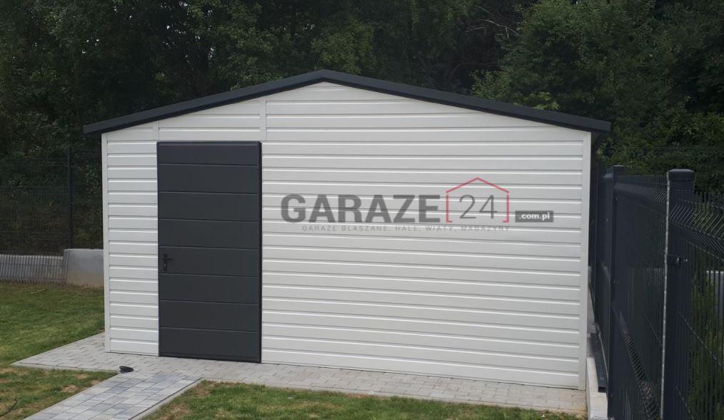 Garaż blaszany 4×4, dwuspadowy, biały