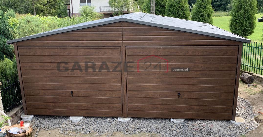 Garaż blaszany 6×5 drewnopodobny + wiata 3×2 m