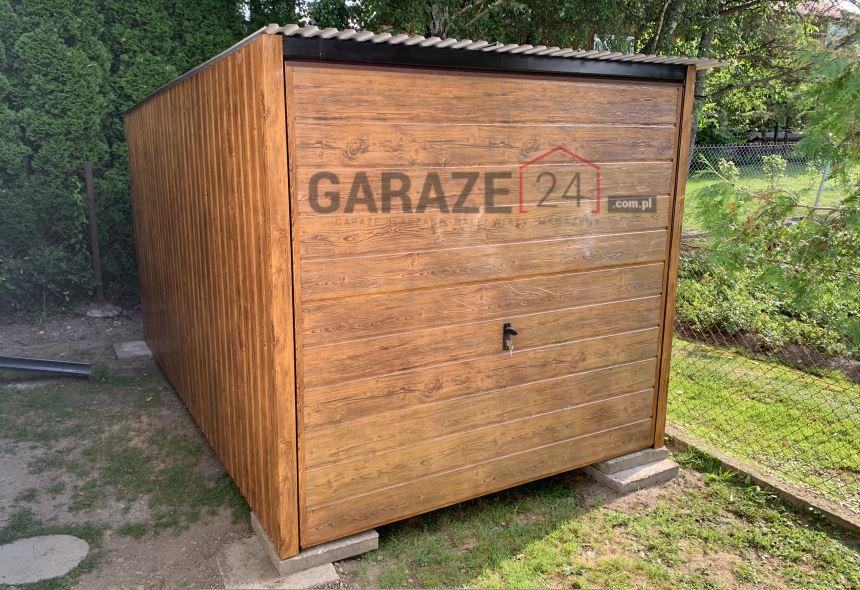 Garaż blaszany 3×5 drewnopodobny jasny orzech