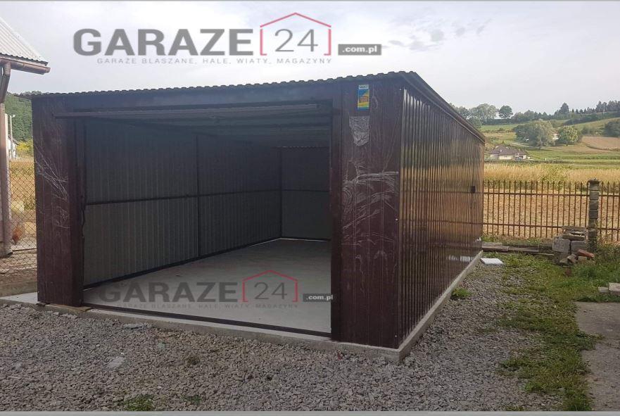 Garaż blaszany 4×6 spad do tyłu, brązowy