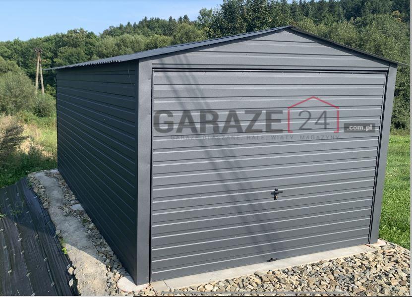 Garaż blaszany 3×5 ciemny grafit + brama uchylna