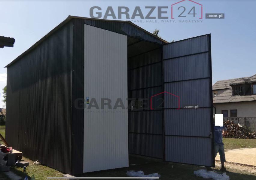 Garaż blaszany 5×8 ciemny grafit dwuspadowy