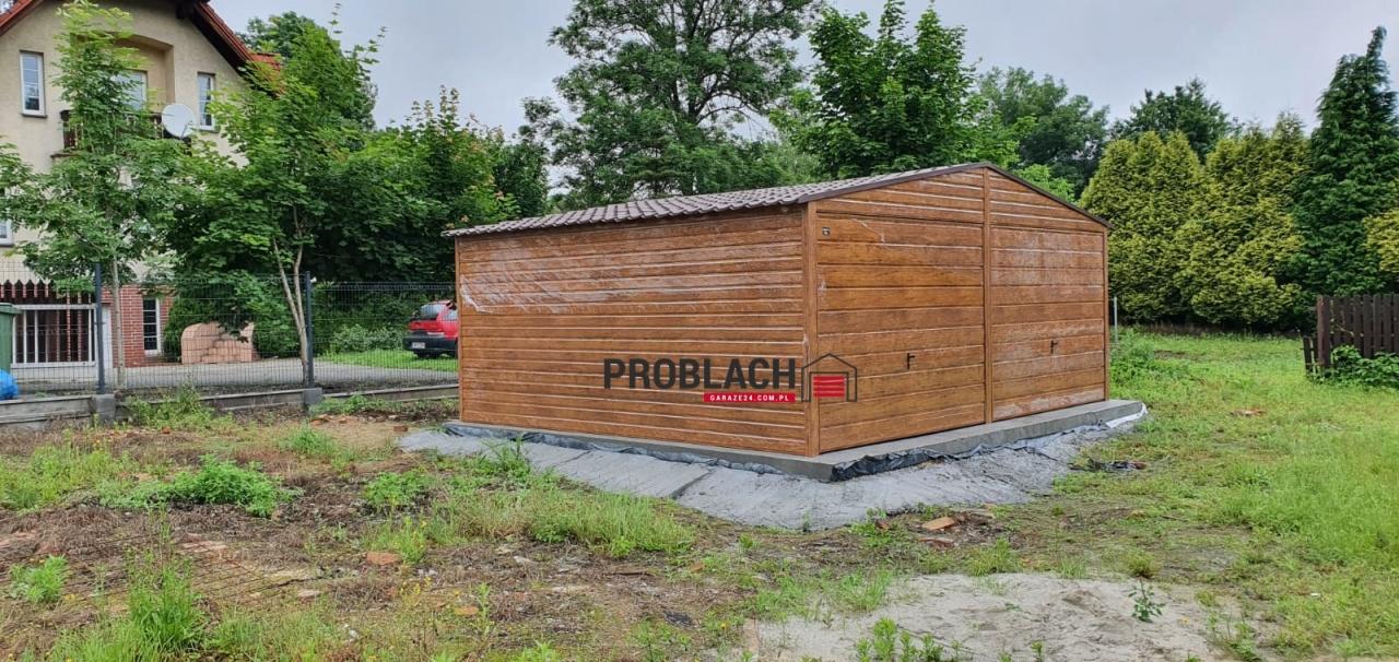 Garaż 6×5,80 dwuspad drewnopodobny PREMIUM + BLACHODACHÓWKA + AUTOMATYKA