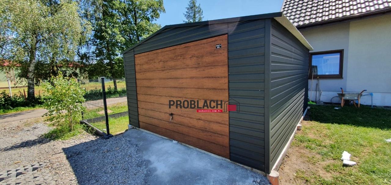 Garaż 4×6 dwuspad RAL + brama uchylna PREMIUM