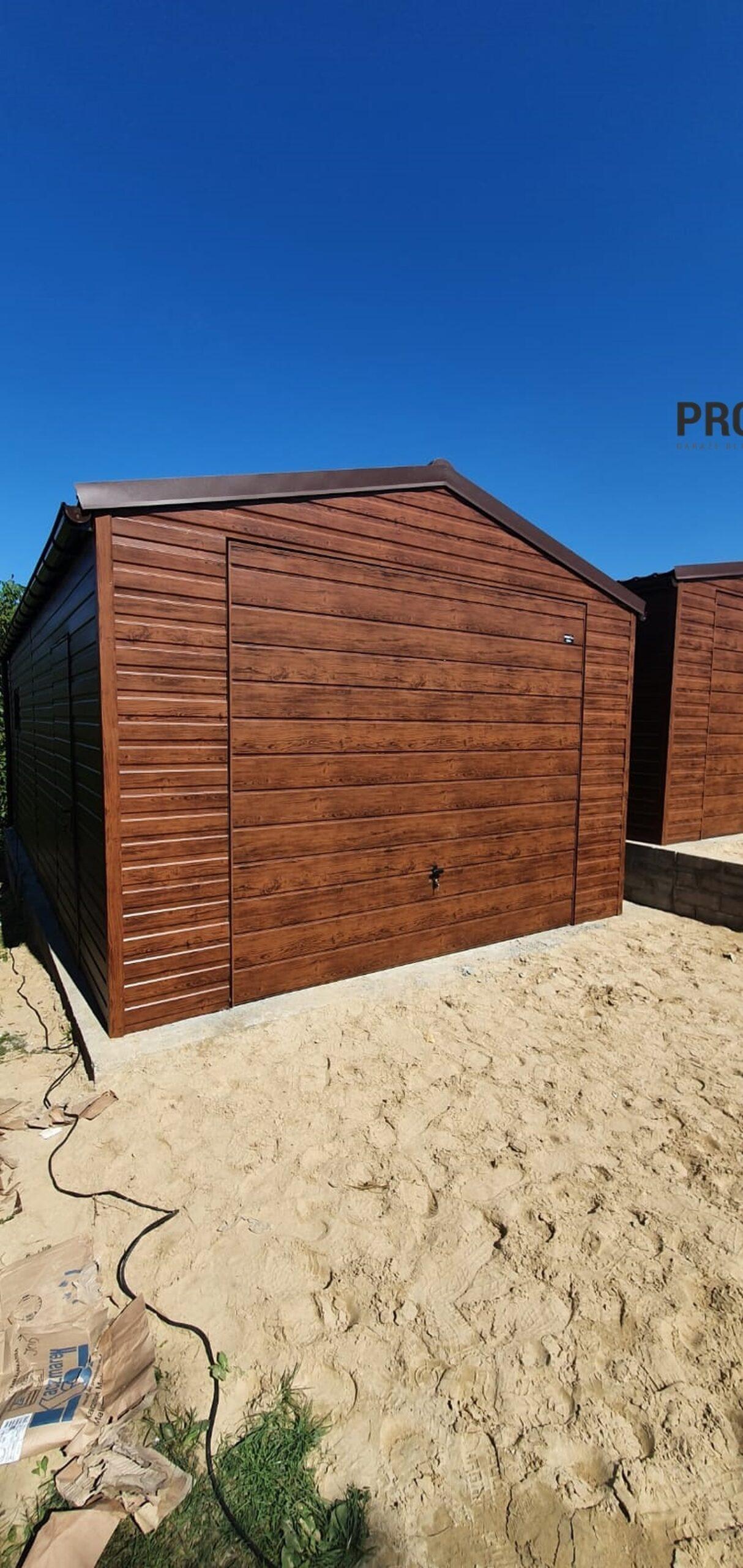 Garaż 4×7 dwuspad Drewnopodobny + AUTOMAT + BLACHODACHÓWKA