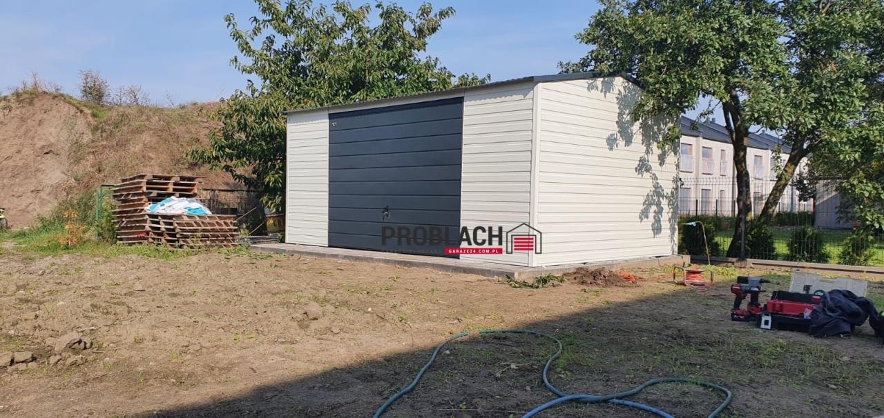 Garaz 5×3,5 dwuspad + brama uchylna z AUTOMATEM