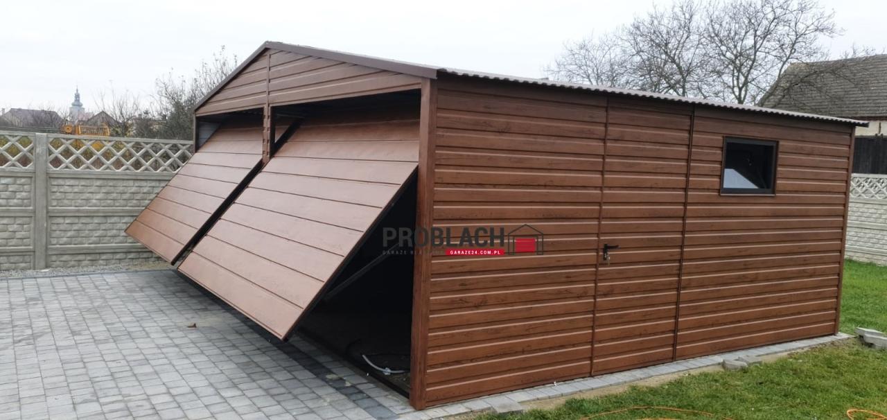 Garaż 6×5 dwuspad drewnopodobny PREMIUM