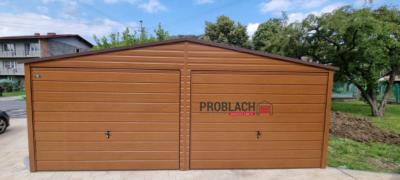 Garaż 6×5 dwuspad Złoty dąb PREMIUM