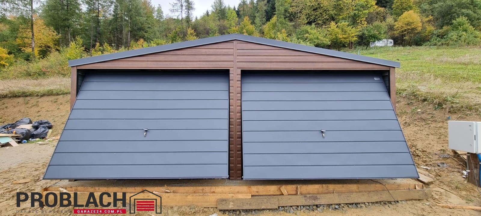 Garaż 6×5,8 dwuspad DREWNOPODOBNY PREMIUM
